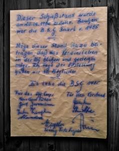 Urkunde: alter Schießstand
